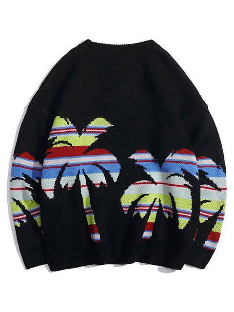 Palme Baum Graphik Rundhals Lässige Pullover - Schwarz M Mobile
