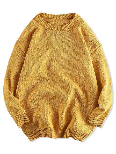 純色套頭衫圓領毛衣 - 蜜蜂黃色 2XL Mobile