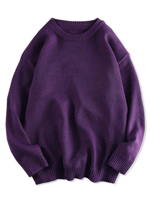 Einfarbiger Pullover mit Rundhalsausschnitt - Lila 2XL Mobile