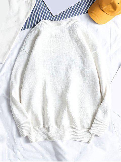 純色套頭衫圓領毛衣 - 白色 2XL Mobile