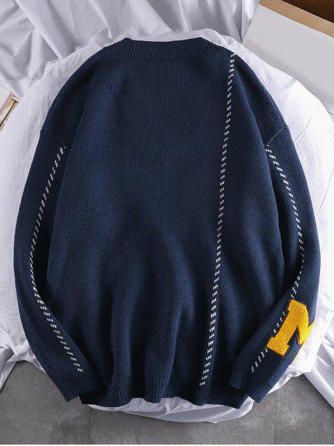 字母圖樣休閒套頭衫毛衣 - 藏青 M Mobile
