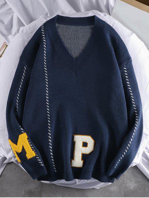 字母圖樣休閒套頭衫毛衣 - 藏青 XL Mobile