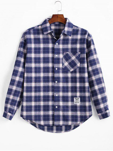 格紋打印口袋長袖襯衫扣 - 牛仔布深藍色 M Mobile