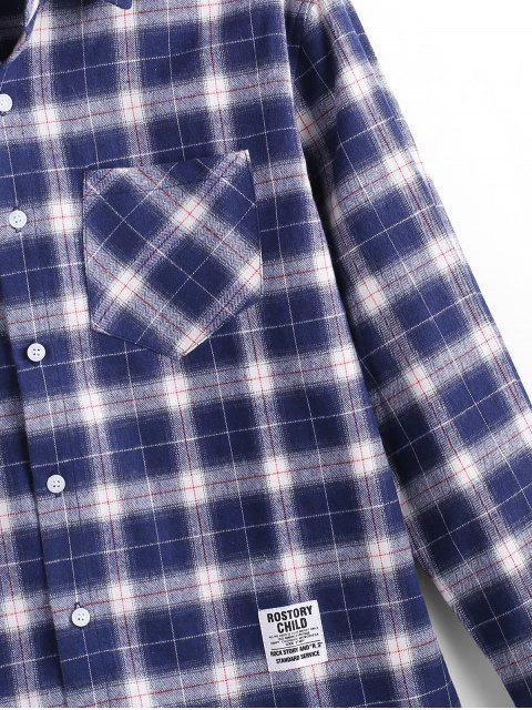 Langärmliges Hemd mit Kariertem Aufdruck - Denim Dunkelblau 2XL Mobile