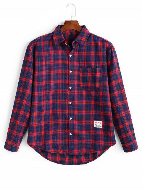 Kariertes Knopf Voller Ärmel Shirt - Kastanie Rot 2XL Mobile