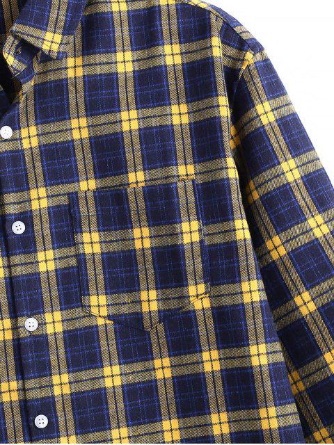 格紋圖案扣滿袖襯衫 - 蜜蜂黃色 M Mobile