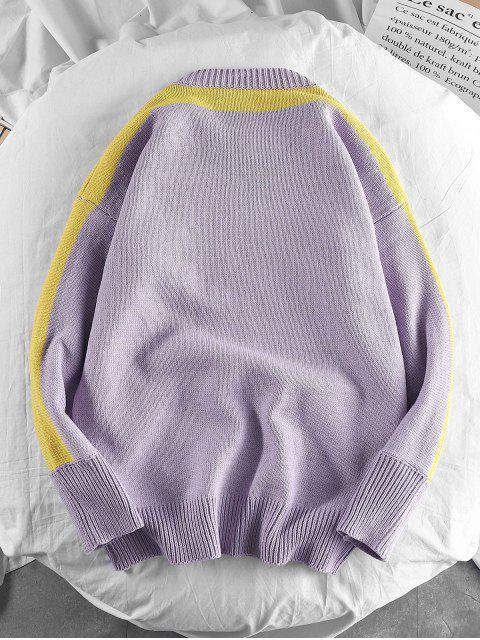 長頸鹿刺繡休閒套衫毛衣 - 淡紫色 2XL Mobile
