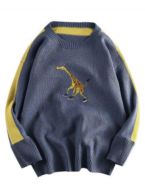Giraffe gestickter Casual Pullover - Schiefer Blau 2XL Mobile