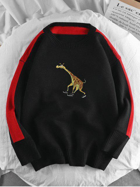 Giraffe gestickter Casual Pullover - Schwarz 2XL Mobile