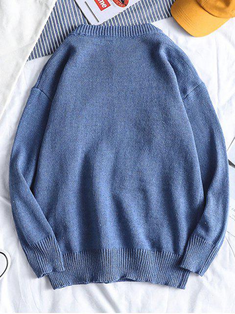卡通恐龍繡花毛衣套衫 - 天藍色 S Mobile