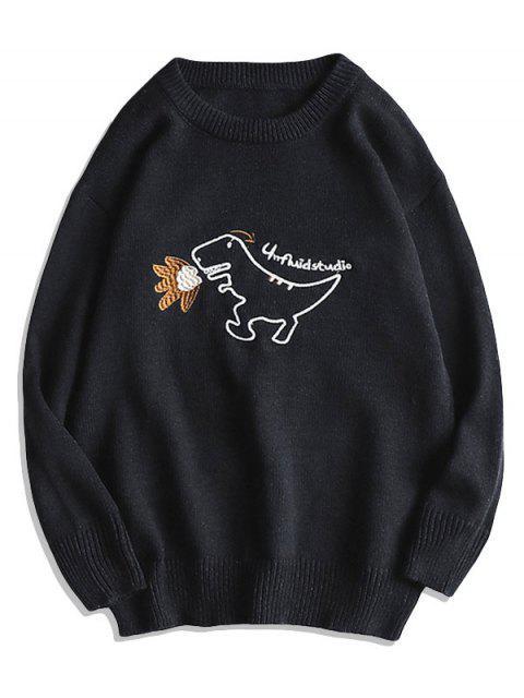 Karikatur Dinosaurier Stickerei Pullover Strickjacke - Schwarz M Mobile