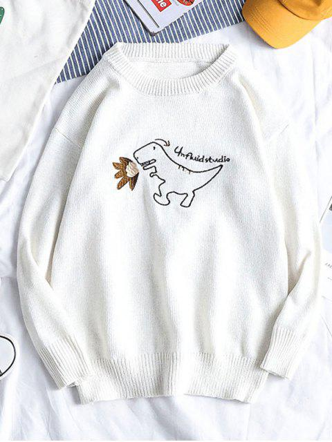 Cartoon Dinosaurier Stickerei Pullover Strickjacke - Weiß XS Mobile