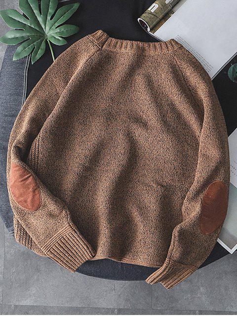 純色圓領套頭衫毛衣 - 黃褐色 M Mobile