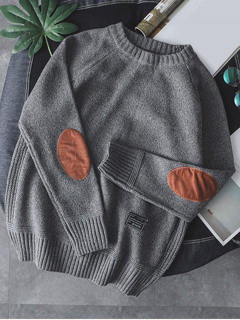 Einfarbiger Pullover mit Rundhalsausschnitt - Grau M Mobile
