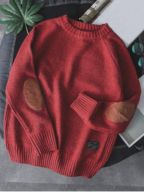 Einfarbiger Pullover mit Rundhalsausschnitt - Rot S Mobile