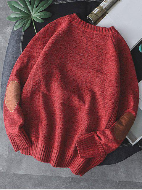純色圓領套頭衫毛衣 - 紅 M Mobile