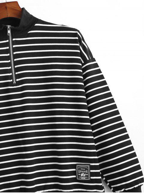 條紋圖案季度拉鍊休閒外套 - 黑色 L Mobile