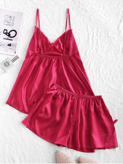 Blumenspitze Bowknot Satin Pyjama Shorts Set - Rot M Mobile