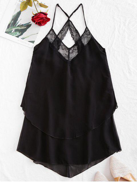 unique Flower Lace Asymmetrical Cami Dress - BLACK 2XL Mobile