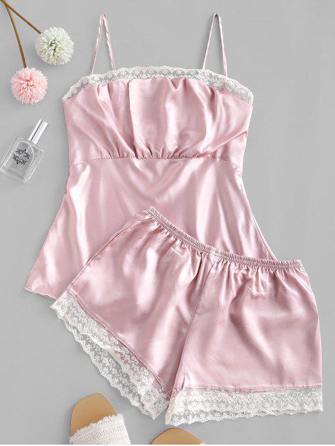 Spitzeneinsatz Satin Cami Pyjama Hose Set - Pink M Mobile