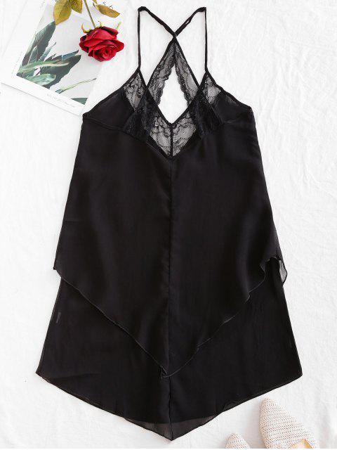 Blumen Spitze Asymmetrisches Chasuble Kleid - Schwarz M Mobile