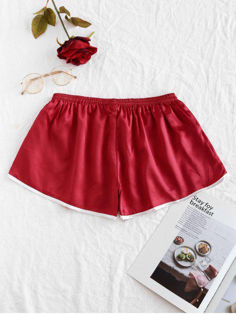 蝴蝶結對比色滾邊緞面短褲 - 紅酒 One Size Mobile