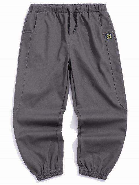 online Graphic Icon Pattern Casual Jogger Pants - GRAY S Mobile