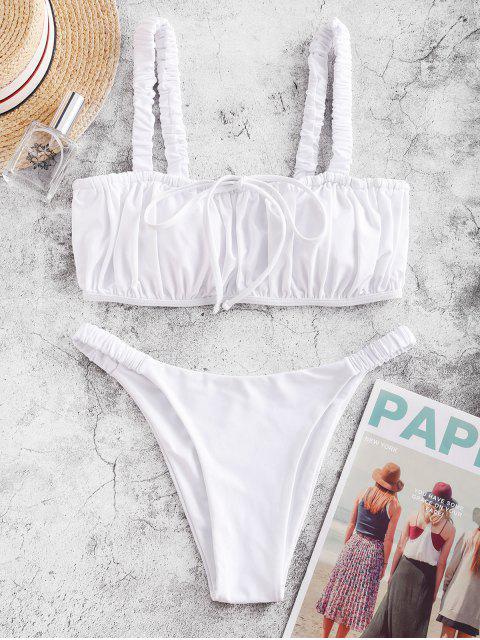 ZAFUL鬆緊織帶褶飾比基尼泳裝 - 白色 M Mobile