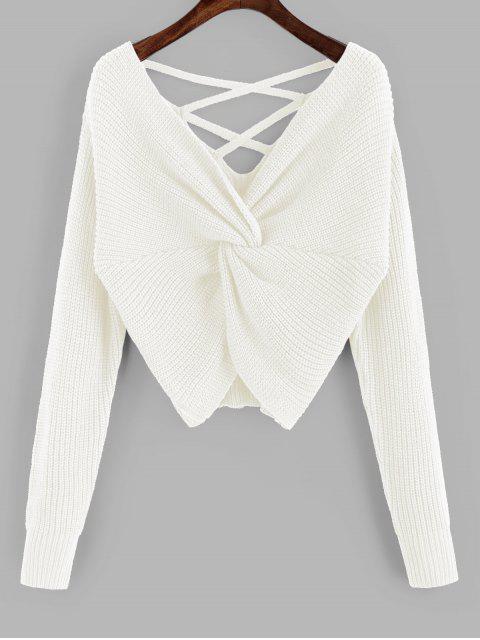 women ZAFUL Twisted Criss Cross Drop Shoulder Sweater - MILK WHITE M Mobile
