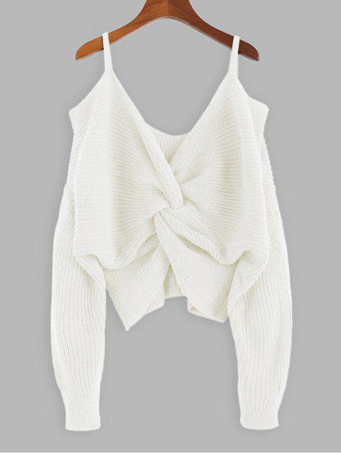 chic ZAFUL Twisted Cold Shoulder Jumper Sweater - MILK WHITE S Mobile