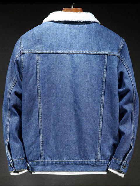 Einfarbige Knopf Jeansjacke - Denim Dunkelblau L Mobile