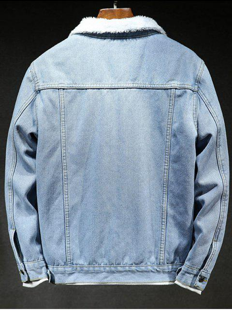 Einfarbige Knopf Jeansjacke - Helles Blau L Mobile