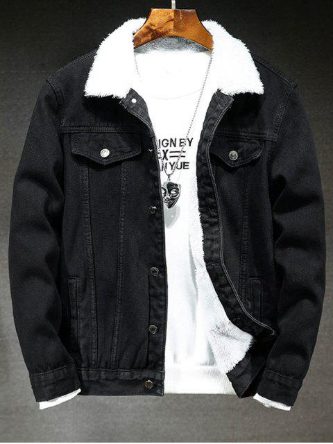 Einfarbige Knopf Jeansjacke - Schwarz L Mobile