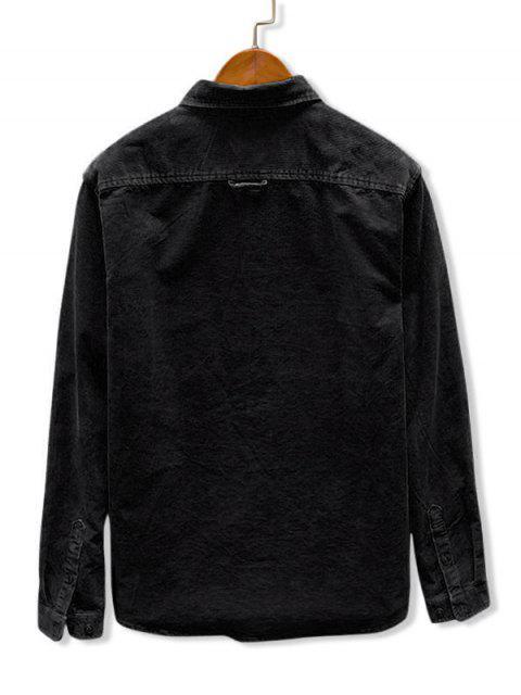 outfit Solid Color Pocket Corduroy Shirt - BLACK L Mobile