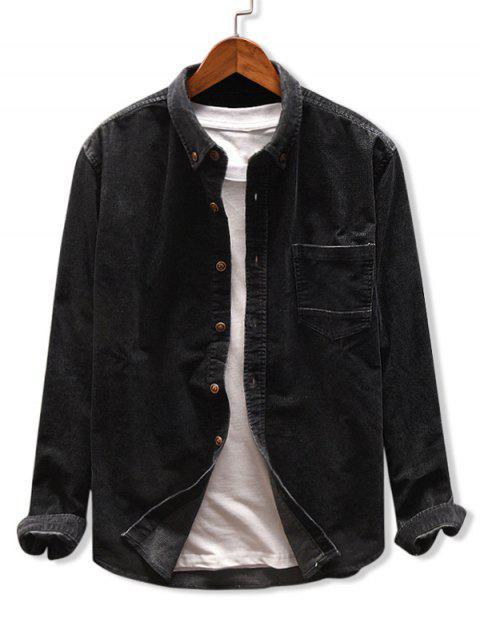 Solid Color Taschen Corduroy Hemd - Schwarz 3XL Mobile