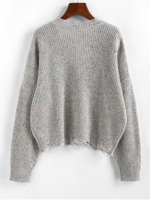 shop ZAFUL Confetti Drop Shoulder Distressed Sweater - GRAY CLOUD XL Mobile