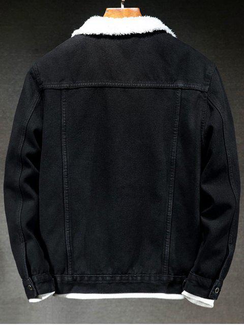 Denim Chaqueta Mullida de Botón de Color Sólido - Negro L Mobile