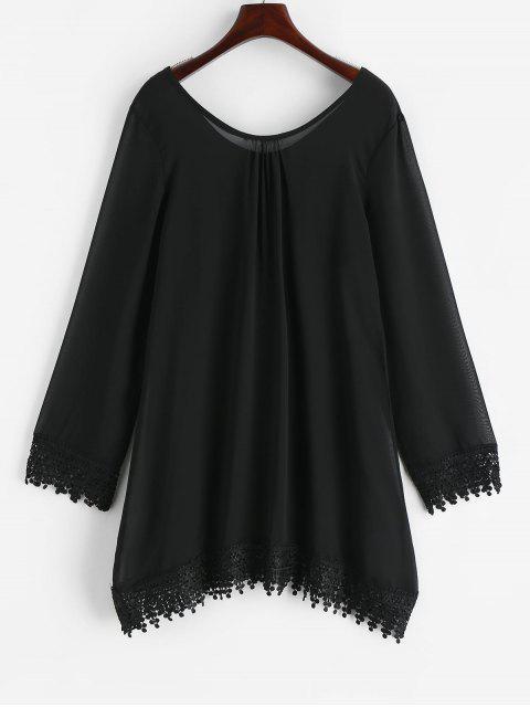 trendy Lace Hem See Through Mini Shift Dress - BLACK L Mobile