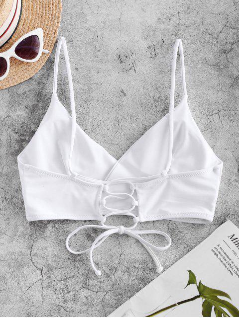 shops ZAFUL Lace-up Surplice Bikini Top - WHITE S Mobile