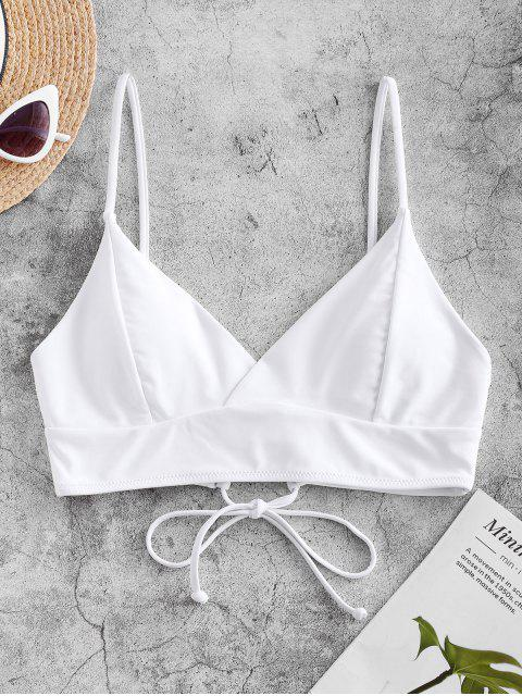 sale ZAFUL Lace-up Surplice Bikini Top - WHITE L Mobile