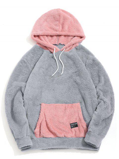 Colorblock袋鼠口袋蓬鬆夾克 - 灰色雲彩 L Mobile