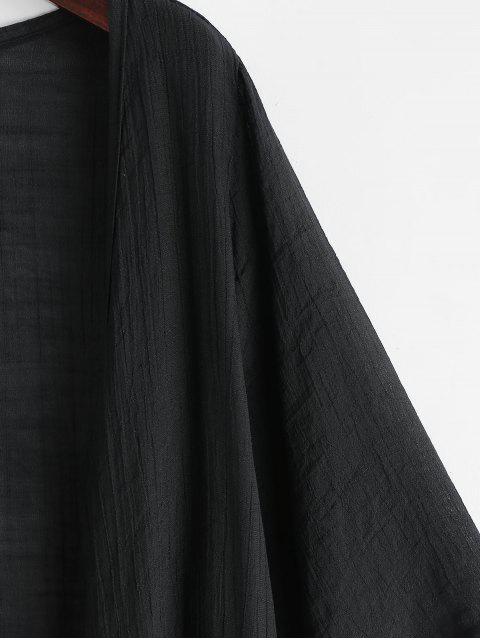 Haut Couverture de Plage Tunique Ouvert en Avant Sans Col - Noir Taille Unique Mobile