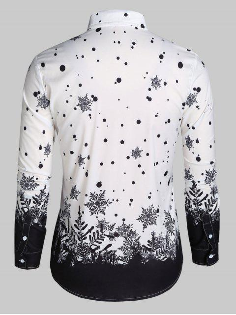 fancy Christmas Snowflake Print Long Sleeve Button Up Shirt - WHITE 3XL Mobile
