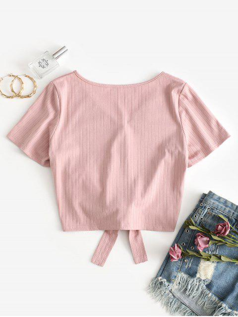 ZAFUL T-shirt Court Noué avec Boutons - Rose S Mobile