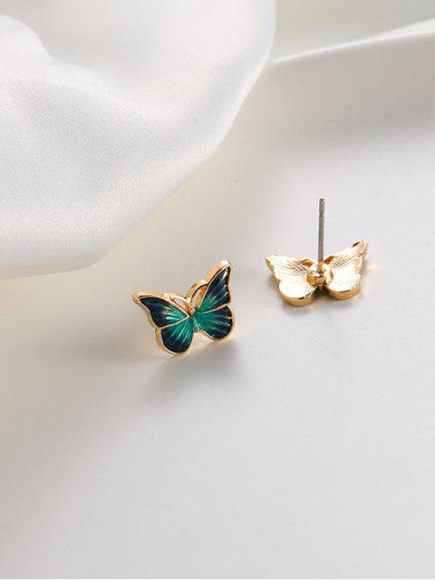 outfit Drops Oil Butterfly Stud Earrings - GREEN  Mobile