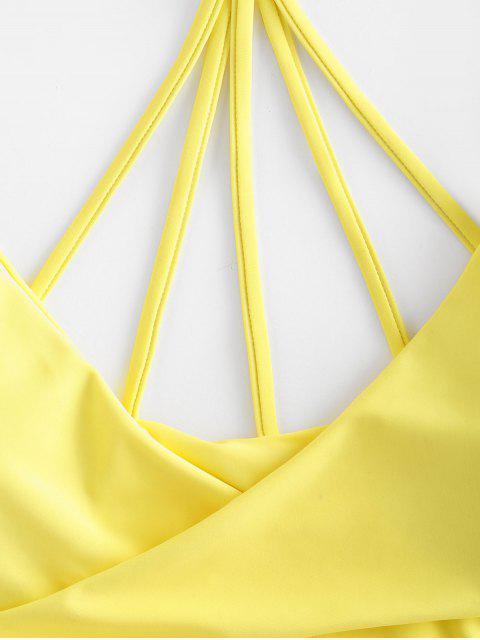 ZAFUL Biquíni de Tiras Cruzadas com Tiras Texturizadas - Milho Amarelo S Mobile