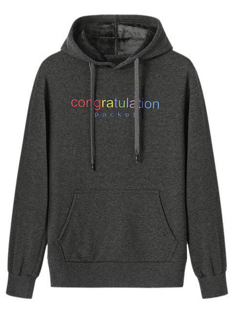 buy Congratulation Letter Print Drawstring Plush Hoodie - DARK GRAY XL Mobile