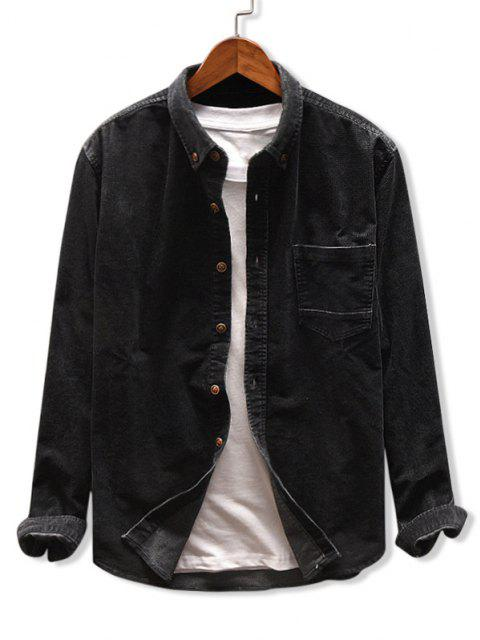 shop Solid Color Pocket Corduroy Shirt - BLACK 2XL Mobile