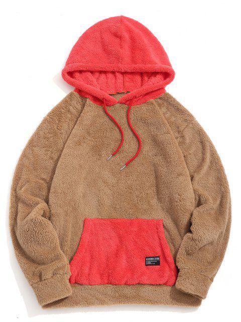 outfit ZAFUL Colorblock Kangaroo Pocket Fluffy Hoodie - CARAMEL L Mobile