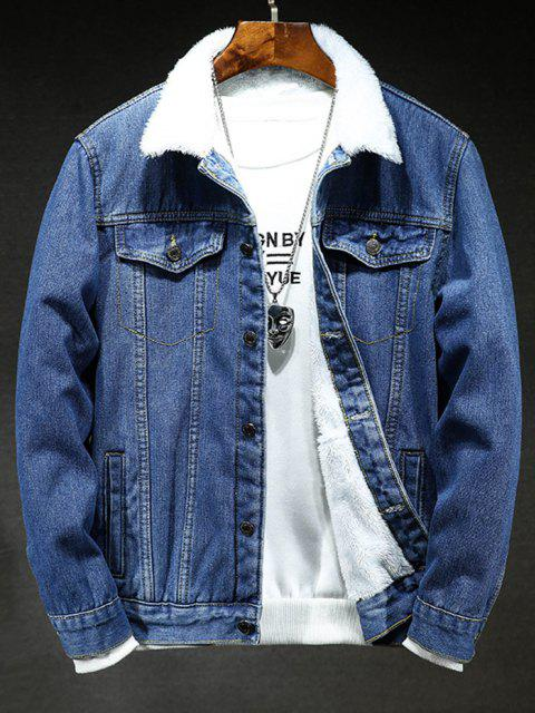 hot Solid Color Button Denim Fluffy Jacket - DENIM DARK BLUE M Mobile